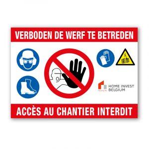 Werfborden met veiligheidspictogrammen en logo