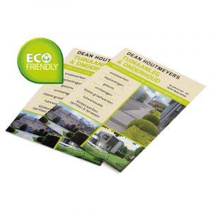 Flyers uit milieuvriendelijk gerecycleerd papier (eco)
