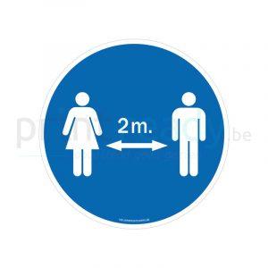 Autocollant de securite garde tes distances 2 metres homme-femme