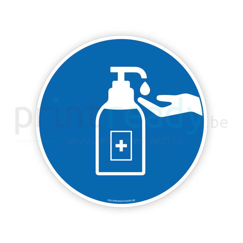 Veiligheid sticker Desinfecteren handen ontsmetten handalcohol