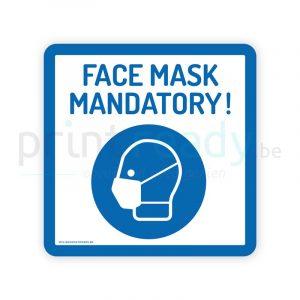 Safety sticker pictogram Face Mask Mandatory