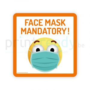 Safety sticker pictogram Smiley Face Mask Mandatory