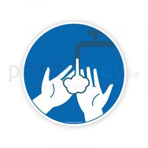 Veiligheid sticker Handen schoonmaken