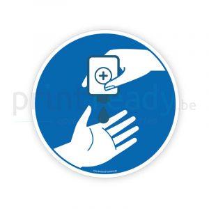 Veiligheid sticker Handen desinfecteren handgel
