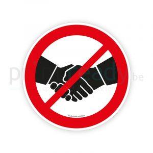 Veiligheid sticker handen geven verboden