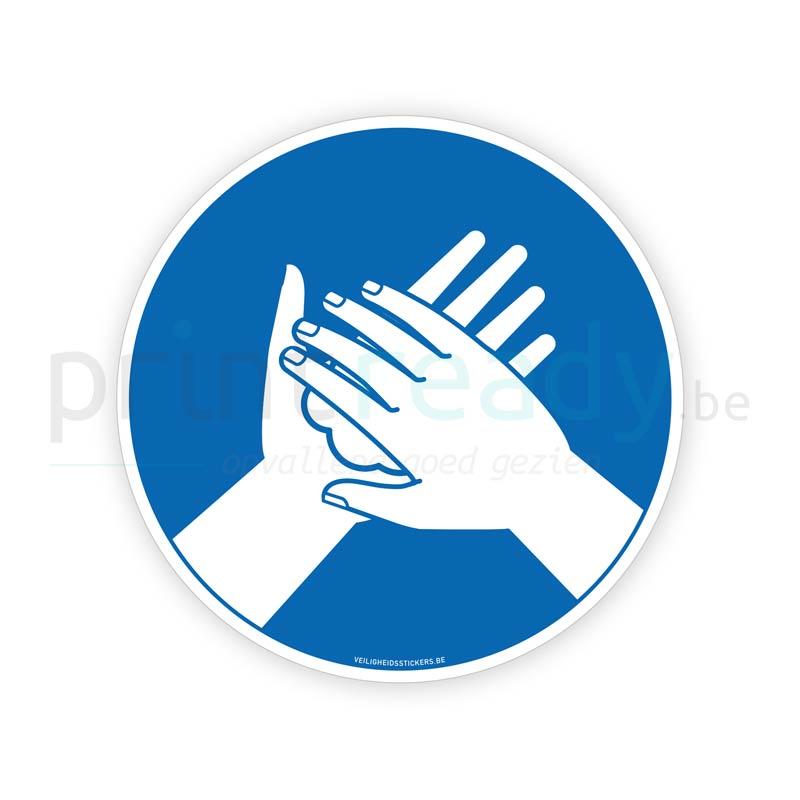 Veiligheid sticker Verplicht handen wassen met zeep