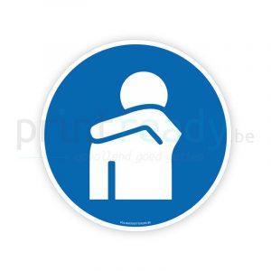 Veiligheid sticker hoesten en niezen in de arm of elleboog gebod