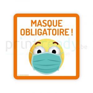 Autocollant de securite pictogram smiley masque obligatoire