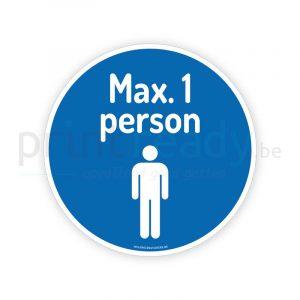 Veiligheid sticker Pictogram Maximum 1 person