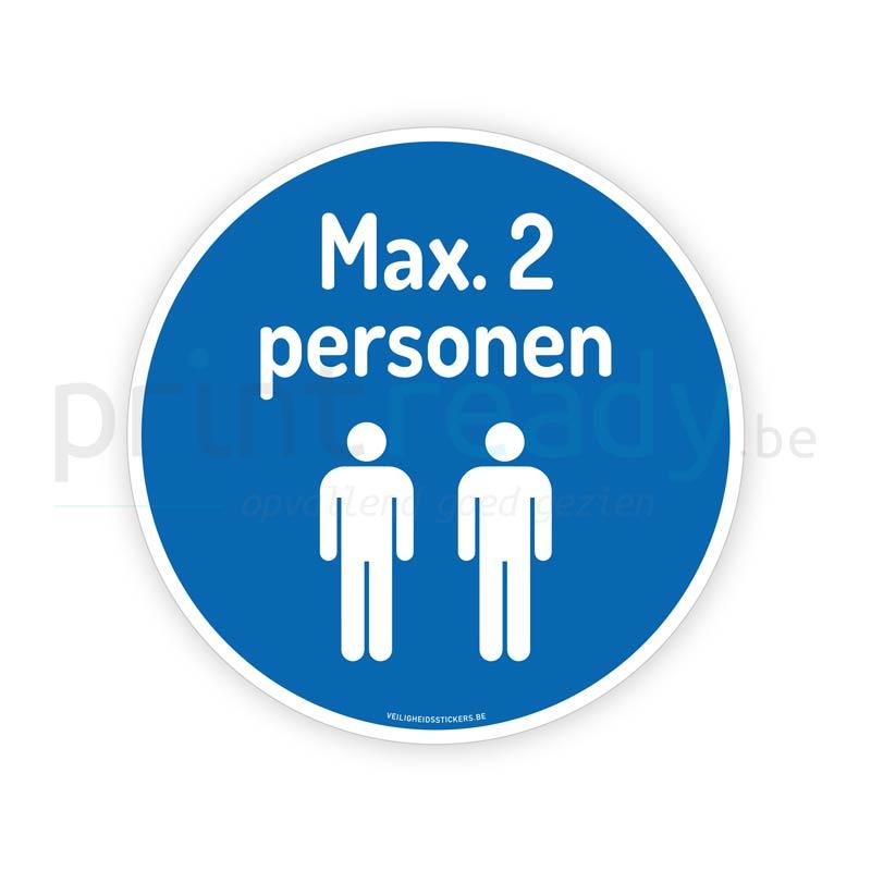 Veiligheid sticker Maximum 2 personen pictogram