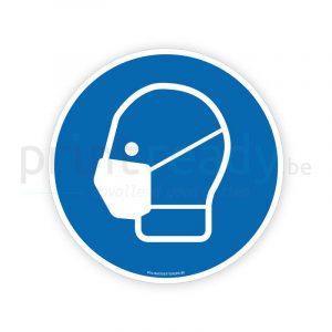 Veiligheid sticker Mondmasker verplicht gebod