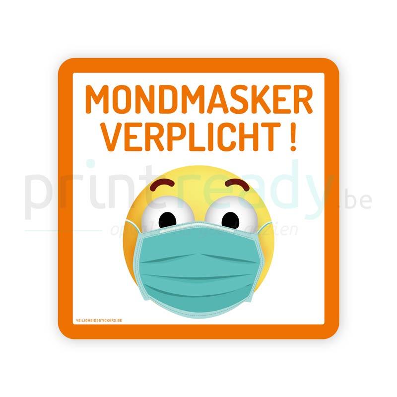 Veiligheid sticker Mondmasker verplicht smiley