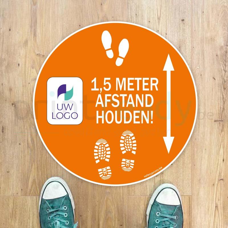 Vloersticker Rond 1,5m afstand houden met logo