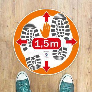 Vloersticker Rond Anderhalve meter afstand houden 1,5m
