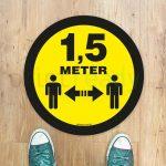 Ronde vloersticker 1,5 meter afstand houden geel-zwart