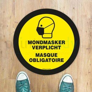 Vloersticker Mondmasker verplicht - Masque obligatoire