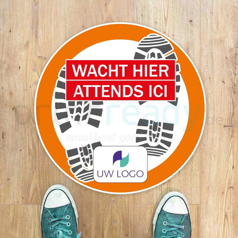 Vloersticker met logo Wacht hier - Sticker adhésif sol Attends ici avec logo