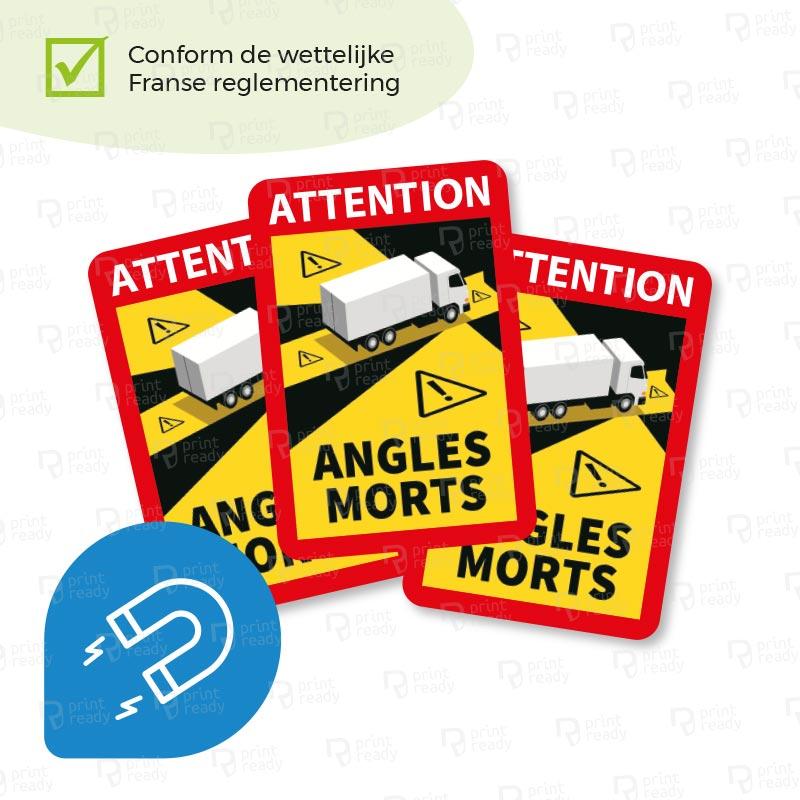 Dode hoek Magneetplaat - Dodehoek sticker magneet Frankrijk