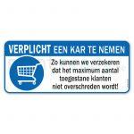 Sticker Verplicht kar nemen maximum toegelaten personen voor winkels