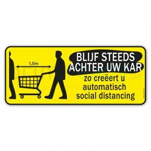 Social distancing sticker Blijf steeds achter uw kar