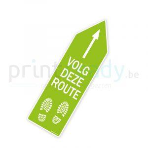 Bewegwijzering pijl sticker wegwijzer Volg deze route - Groen