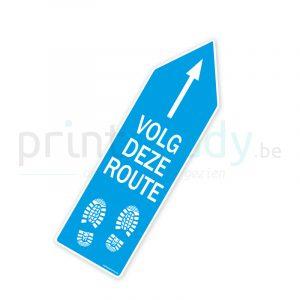 Bewegwijzering pijl sticker wegwijzer Volg deze route - Lichtblauw