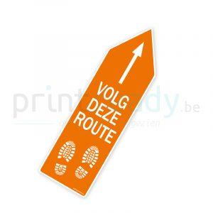 Bewegwijzering pijl sticker wegwijzer Volg deze route - Oranje
