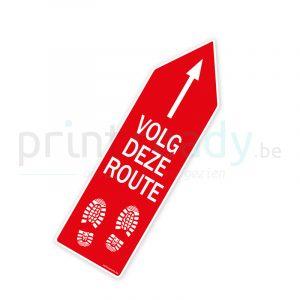 Bewegwijzering pijl sticker wegwijzer Volg deze route - Rood