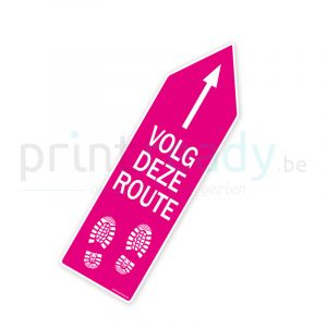 Bewegwijzering pijl sticker wegwijzer Volg deze route - Roze