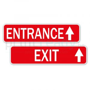 Set van 2 stickers Entrance/Exit als bewegwijzering in winkel