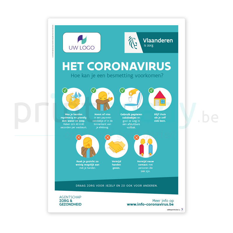 Officiele poster van overheid Vlaanderen Zorg en Gezondheid Het Coronavirus personaliseren met logo
