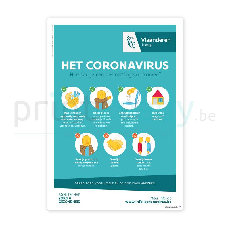 Officiële poster van overheid Vlaanderen Zorg en Gezondheid Het Coronavirus Groen