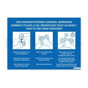 Zelfklevende poster met instructies Hoe handgel gebruiken 3 talen Nederlands-Frans-Duits
