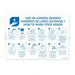 Zelfklevende poster met instructies Handen wassen 3 talen Nederlands-Frans-Duits
