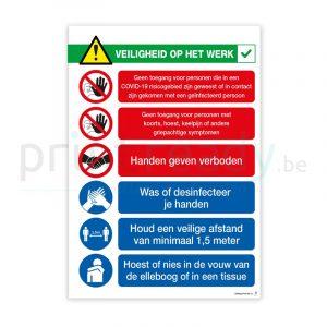 Zelfklevende poster Veiligheid op het werk Nederlands staand
