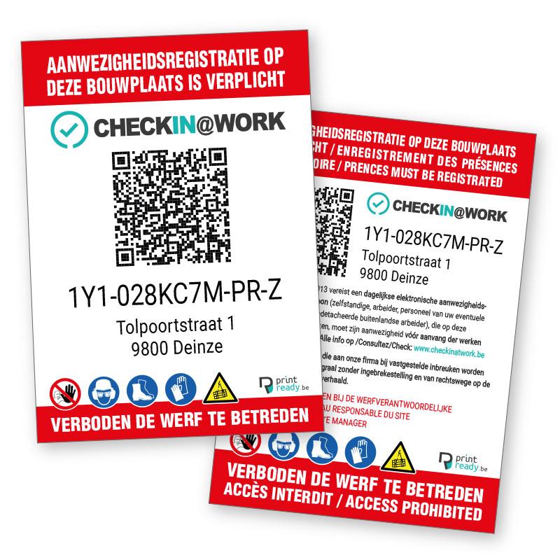 Werfborden Aanwezigheidsregistratie Check in at Work met QR code