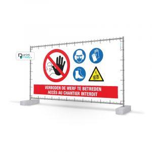 Hekwerk doek Veiligheidspictogrammen Bouw - Heras Werfdoeken