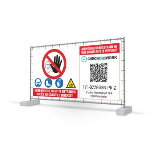 Werfdoeken Aanwezigheidsregistratie CIAW - QR code Checkin At Work Hekwerk doek Heras